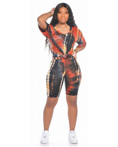Orange Sports and leisure tie-dye two-piece suit