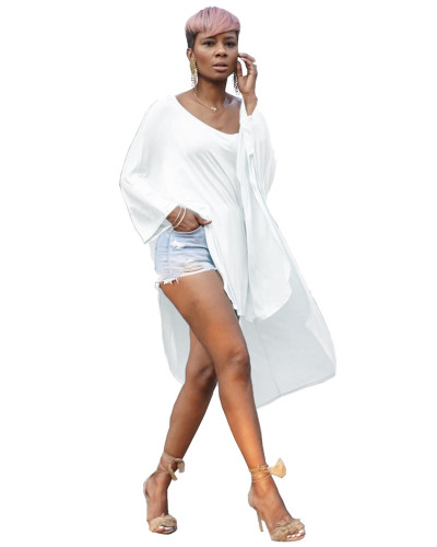White Short front and long back leisure T-shirt