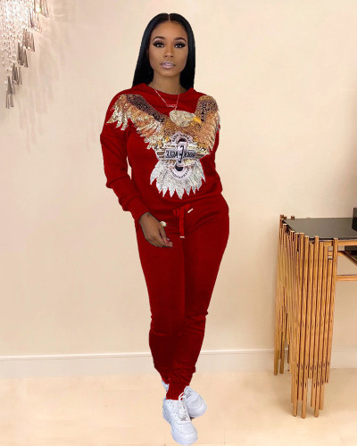 Red fashion animal figure sequin stitching sweater two piece suit