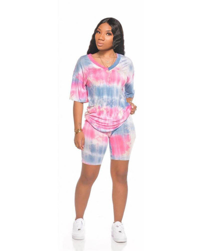 Pink Sports and leisure tie-dye two-piece suit