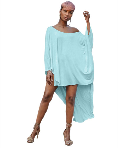 Blue Short front and long back leisure T-shirt