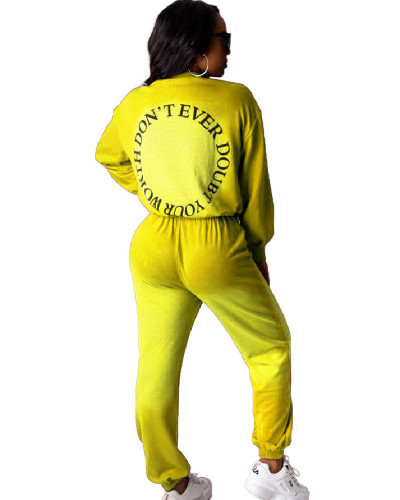 Yellow Summer letter print sport gradient two-piece set