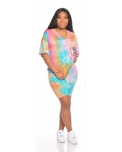 Green Sports and leisure tie-dye two-piece suit