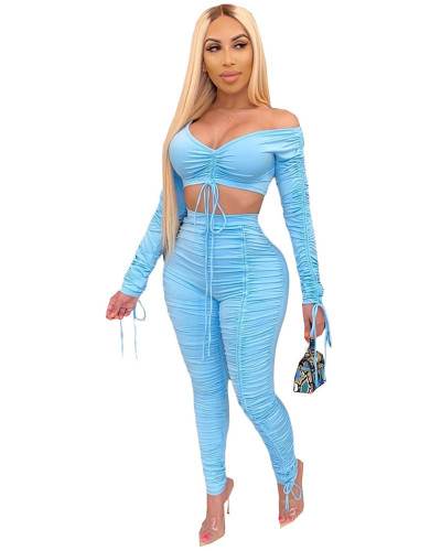 Blue 2020 summer fashion pleated wrap chest sexy casual two-piece suit