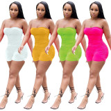 Yellow Summer fashion sleeveless pleated wrap chest sexy mini jumpsuit