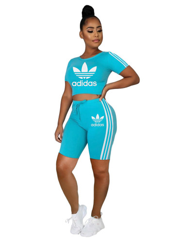 Blue  INS hot sale Adidas letter pattern printing fashion personality casual sports two piece set