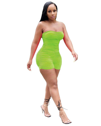 Green Summer fashion sleeveless pleated wrap chest sexy mini jumpsuit