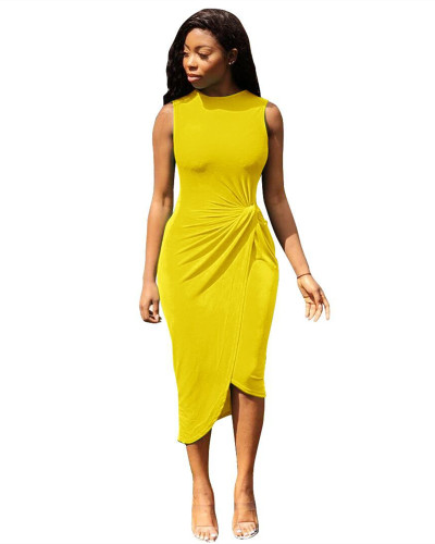 Yellow Short front and long back split dress