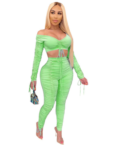 Green 2020 summer fashion pleated wrap chest sexy casual two-piece suit