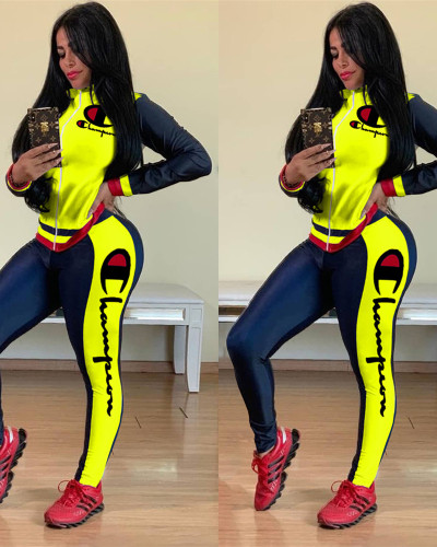Yellow Printed stitching sports two-piece suit