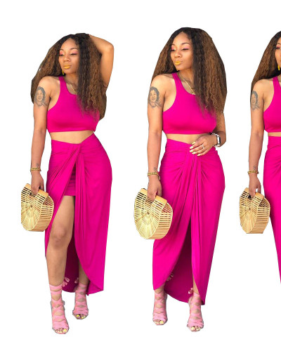 Red Pleated design split two-piece set