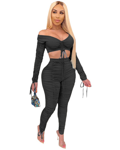 Black 2020 summer fashion pleated wrap chest sexy casual two-piece suit