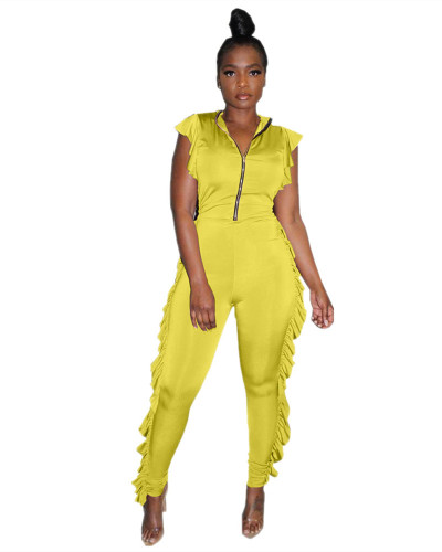 Yellow Fungus-side chest zipper jumpsuit