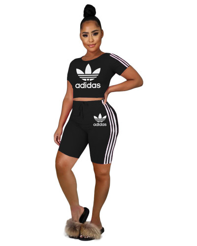 Black  INS hot sale Adidas letter pattern printing fashion personality casual sports two piece set