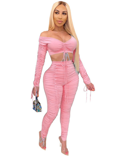 Pink 2020 summer fashion pleated wrap chest sexy casual two-piece suit