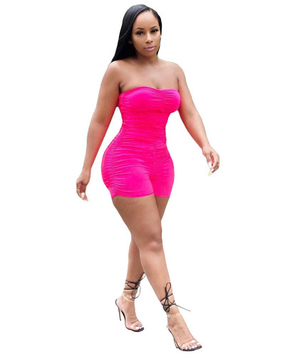 Pink Summer fashion sleeveless pleated wrap chest sexy mini jumpsuit