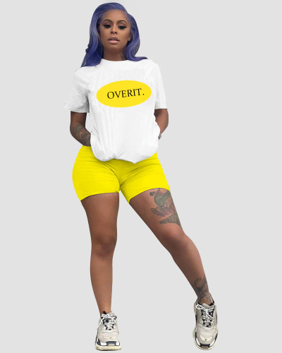 Yellow Casual letter positioning printing color matching loose short sleeve shorts sports two-piece suit