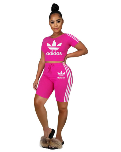 Pink  INS hot sale Adidas letter pattern printing fashion personality casual sports two piece set