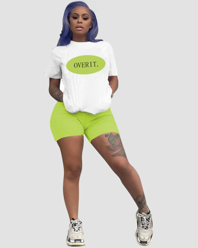 Green Casual letter positioning printing color matching loose short sleeve shorts sports two-piece suit