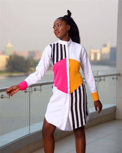 White 2020 striped stitching multicolor shirt trend style long sleeve dress