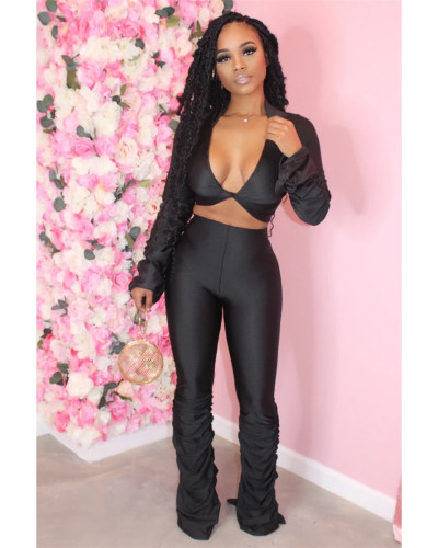 Black Solid color fold micro horn deep V-neck suit
