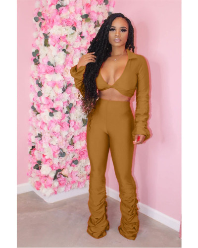 Golden Solid color fold micro horn deep V-neck suit