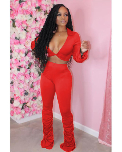 Red Solid color fold micro horn deep V-neck suit