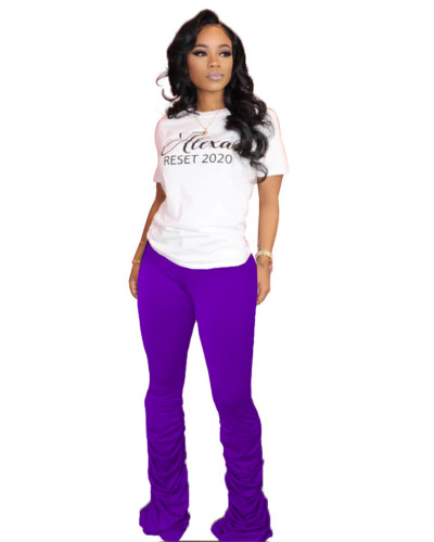 Violet Solid color high-stretch pleated micro-flare casual track pants