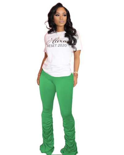 Green Solid color high-stretch pleated micro-flare casual track pants