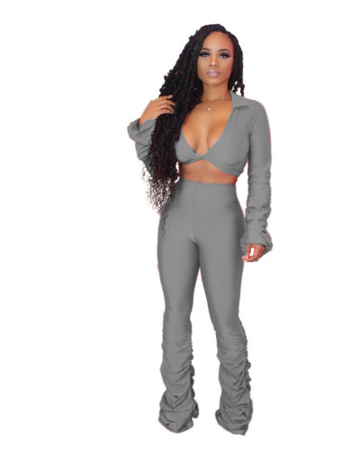 Gray Solid color fold micro horn deep V-neck suit