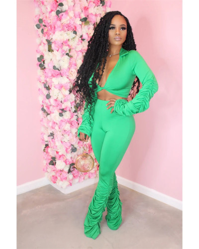 Green Solid color fold micro horn deep V-neck suit