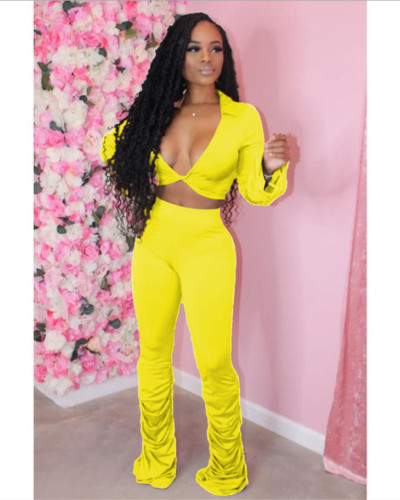 Yellow Solid color fold micro horn deep V-neck suit
