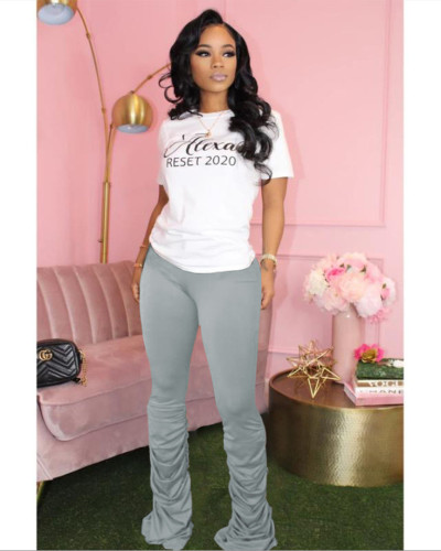 Gray Solid color high-stretch pleated micro-flare casual track pants