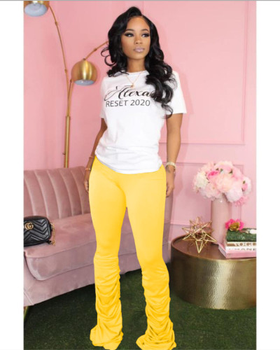 Yellow Solid color high-stretch pleated micro-flare casual track pants