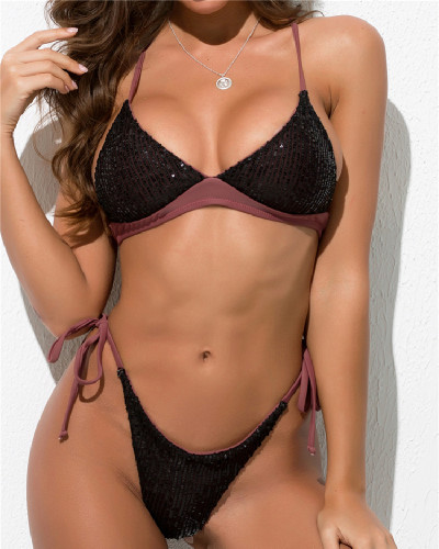 Brown Solid color sequin swimsuit