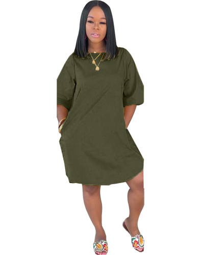 Army green Solid color pocket nightclub