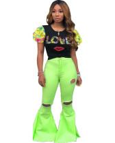 Green Solid color washed hole denim flared pants