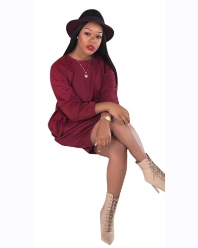 Claret Solid color loose simple dress European and American nightclub