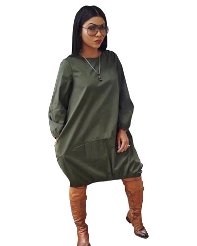 Army green Solid color loose simple dress European and American nightclub