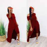 Red loose long solid color short sleeve two-piece suit