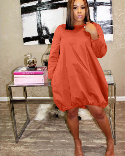 Orange Solid color loose simple dress European and American nightclub