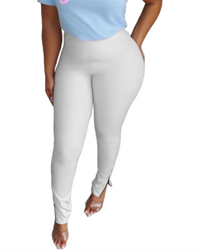 White solid color zipper sports pants