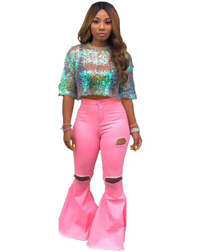 Pink Solid color washed hole denim flared pants