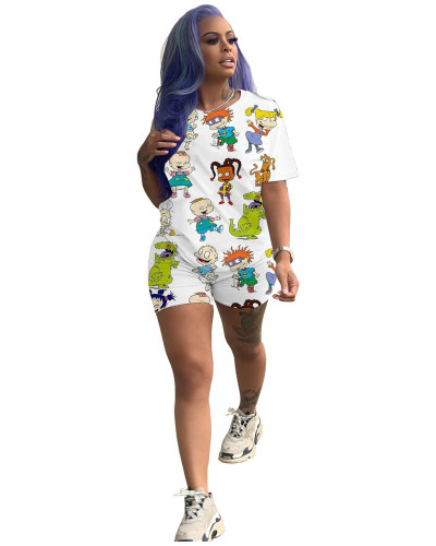 White cartoon print leisure home two-piece set