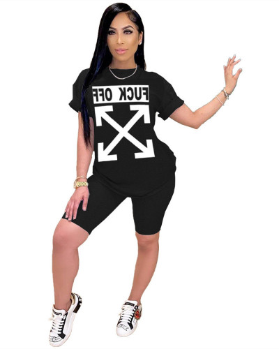 Black FCUK OFF trend letter printed sports two-piece set
