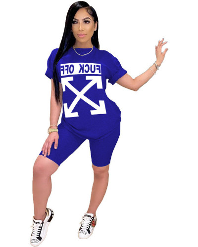 Blue FCUK OFF trend letter printed sports two-piece set