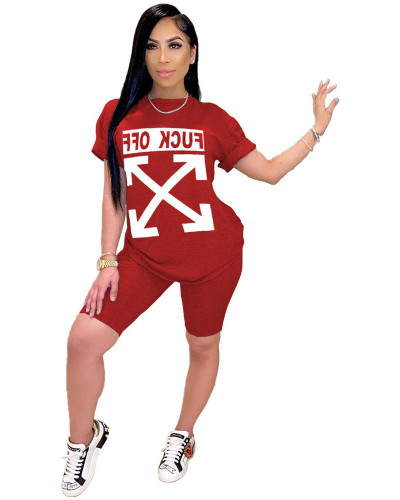 Red FCUK OFF trend letter printed sports two-piece set