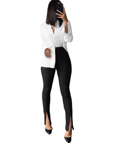 Black Solid color casual tight split pants