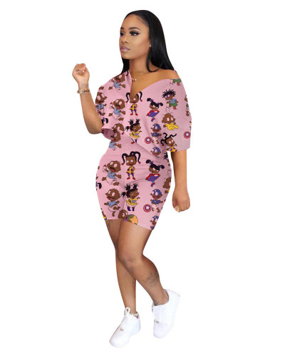 Pink Fashion printing casual two-piece suit