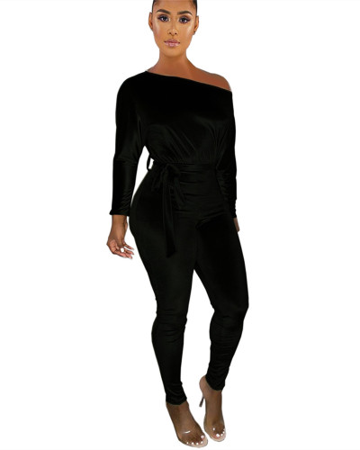 Black One-shoulder oblique shoulder wear more jumpsuits